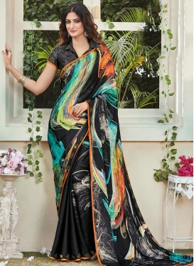 Crepe Silk Digital Print Work Trendy Saree