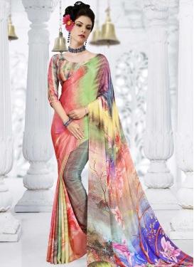 Crepe Silk Digital Print Work Trendy Saree