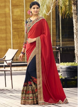 Crepe Silk Embroidered Work Navy Blue and Red Designer Half N Half Saree
