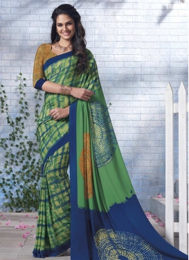 Crepe Silk Green and Navy Blue Contemporary Style Saree For Casual