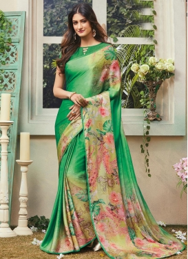 Crepe Silk Green and Olive Trendy Classic Saree For Ceremonial