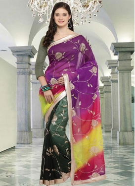 Crepe Silk Green and Purple Half N Half Saree For Casual