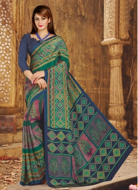 Crepe Silk Green and Teal Print Work Contemporary Style Saree