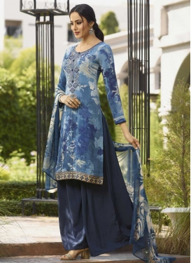 Crepe Silk Grey and Navy Blue Digital Print Work Designer Palazzo Salwar Kameez