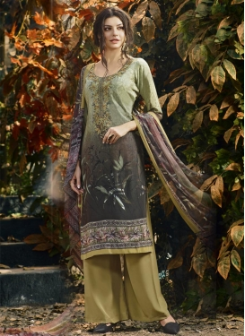 Crepe Silk Grey and Olive Digital Print Work Palazzo Straight Salwar Suit