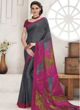 Crepe Silk Grey and Rose Pink Traditional Saree