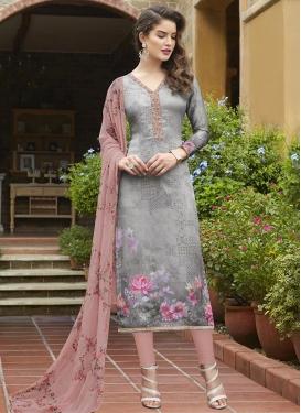 Crepe Silk Grey and Salmon Digital Print Work Pakistani Straight Suit