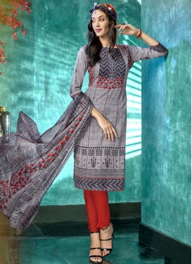 Crepe Silk Grey and Tomato Digital Print Work Trendy Churidar Suit