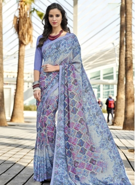 Crepe Silk Grey and Violet Contemporary Style Saree