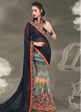 Crepe Silk Half N Half Trendy Saree