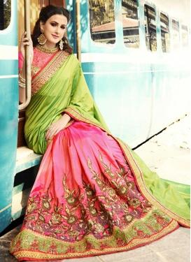 Crepe Silk Hot Pink and Mint Green Half N Half Designer Saree