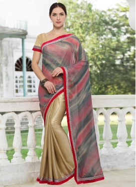 Crepe Silk Lace Work Half N Half Saree