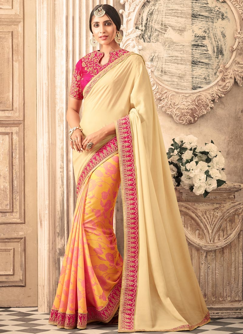 Crepe Silk Lace Work Half N Half Trendy Saree