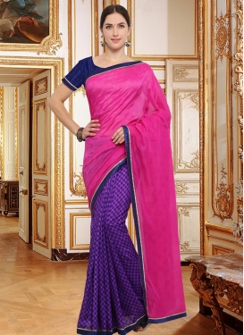 Crepe Silk Lace Work Rose Pink and Violet Half N Half Designer Saree