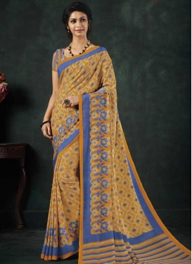 Crepe Silk Light Blue and Mustard Classic Saree For Casual