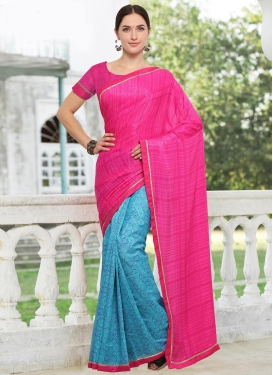 Crepe Silk Light Blue and Rose Pink Half N Half Trendy Saree