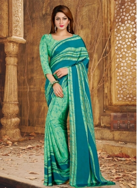 Crepe Silk Mint Green and Teal Contemporary Style Saree