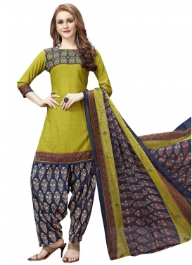 Crepe Silk Navy Blue and Olive Digital Print Work Patiala Salwar Kameez
