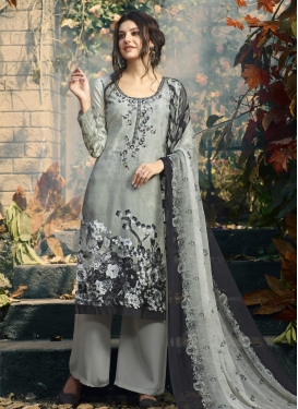 Crepe Silk Palazzo Straight Salwar Kameez For Ceremonial