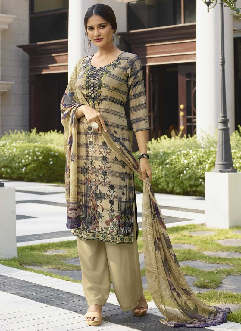 Crepe Silk Palazzo Straight Salwar Suit