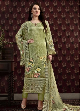 Crepe Silk Pant Style Pakistani Suit For Ceremonial
