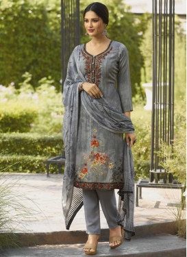 Crepe Silk Pant Style Salwar Kameez
