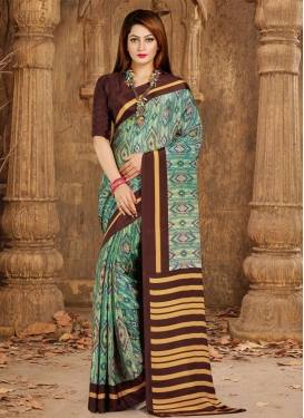 Crepe Silk Print Work Contemporary Saree