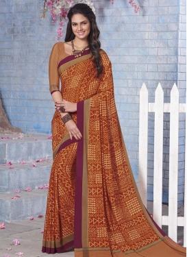 Crepe Silk Print Work Traditional Saree