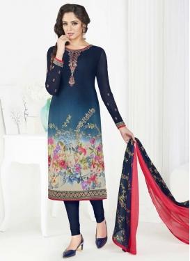 Crepe Silk Trendy Churidar Salwar Kameez