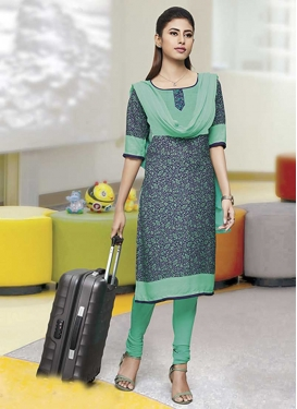 Crepe Silk Trendy Churidar Suit For Casual