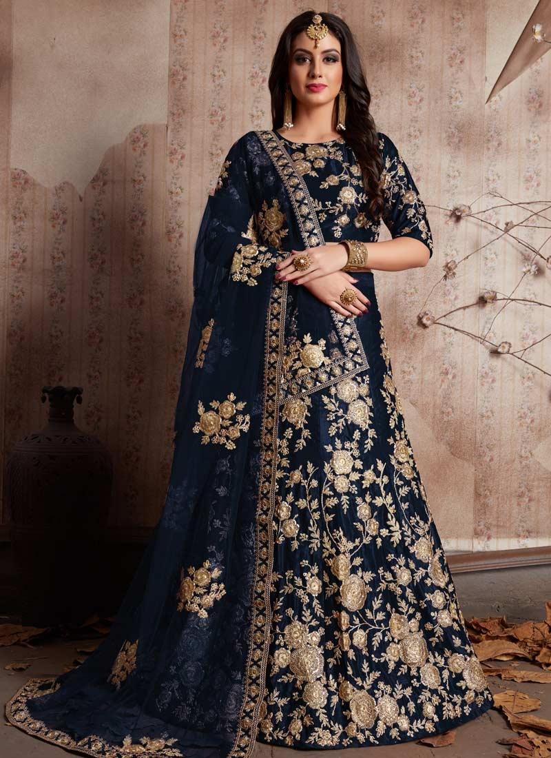 Crepe Velvet Trendy Lehenga For Bridal