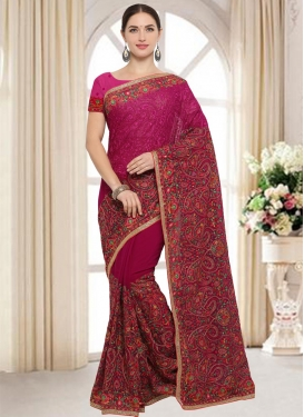 Crimson and Fuchsia  Classic Saree
