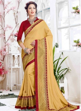 Crimson and Gold Satin Silk Traditional Designer Saree