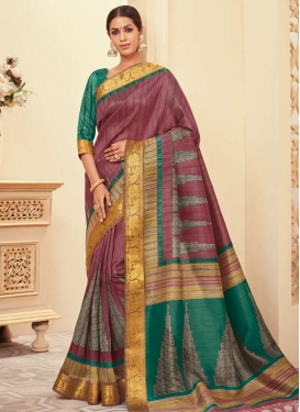 Crimson and Green Bhagalpuri Silk Classic Saree