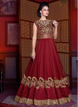 Crimson and Maroon Net Long Length Designer Suit