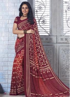 Crimson and Maroon Print Work Crepe Silk Traditional Saree