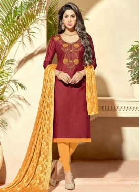 Crimson and Mustard Embroidered Work Cotton Silk Trendy Churidar Salwar Kameez