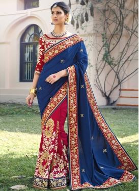 Crimson and Navy Blue Designer Half N Half Saree