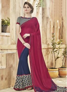 Crimson and Navy Blue Lace Work Half N Half Designer Saree
