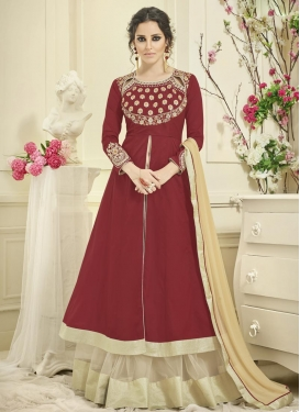 Crimson and Off White Embroidered Work Designer Kameez Style Lehenga Choli