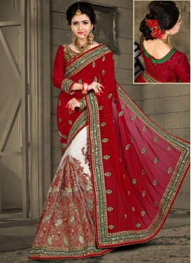 Crimson and Off White Embroidered Work Half N Half Trendy Saree
