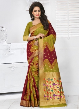 Crimson and Olive Banarasi Silk Contemporary Saree