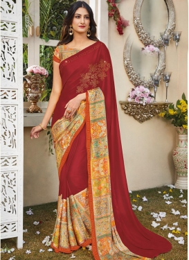 Crimson and Orange Digital Print Work Contemporary Style Saree