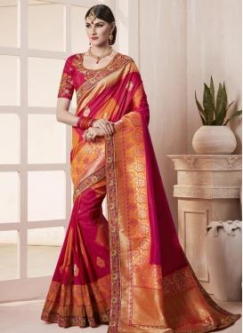 Crimson and Orange Embroidered Work Trendy Classic Saree