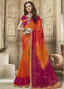 Crimson and Orange Faux Georgette Contemporary Style Saree