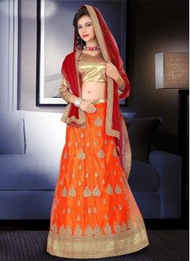 Crimson and Orange Net Lehenga Choli