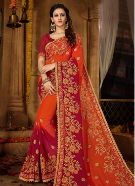 Crimson and Orange Trendy Classic Saree For Ceremonial