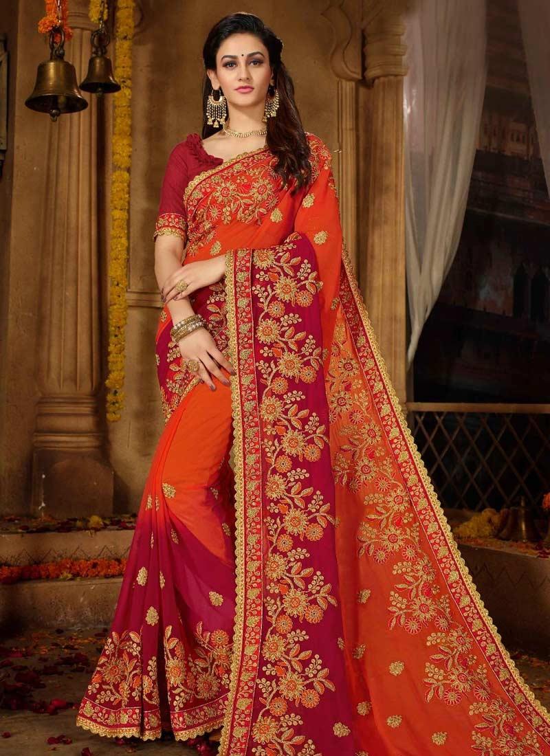 Crimson and Orange Trendy Classic Saree For Ceremonial