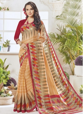 Crimson and Peach Art Silk Contemporary Style Saree