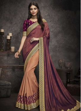 Crimson and Peach Art Silk Designer Half N Half Saree
